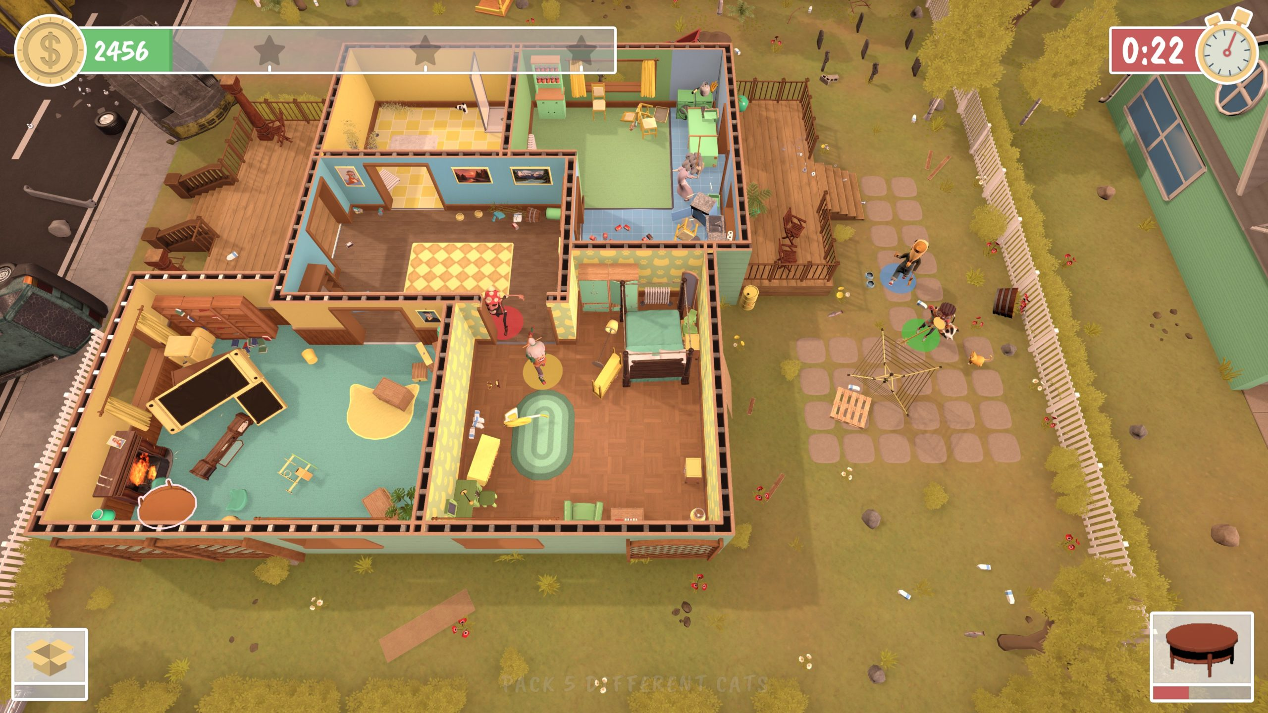 Top down view of a house with five rooms. We can see inside as the roof is removed and in the main living room, the couch has been tipped onto its front with the leg rest propping it upwards. A table has also been thrown to the side. Outside, on the patio, two characters are dragging a washing line.